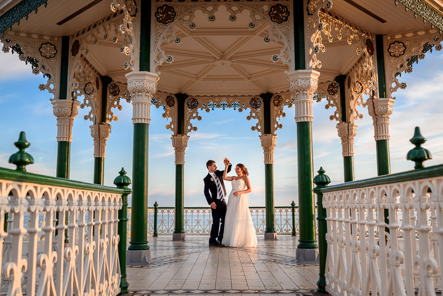 wedding couple photos on The Bandstand Brighton