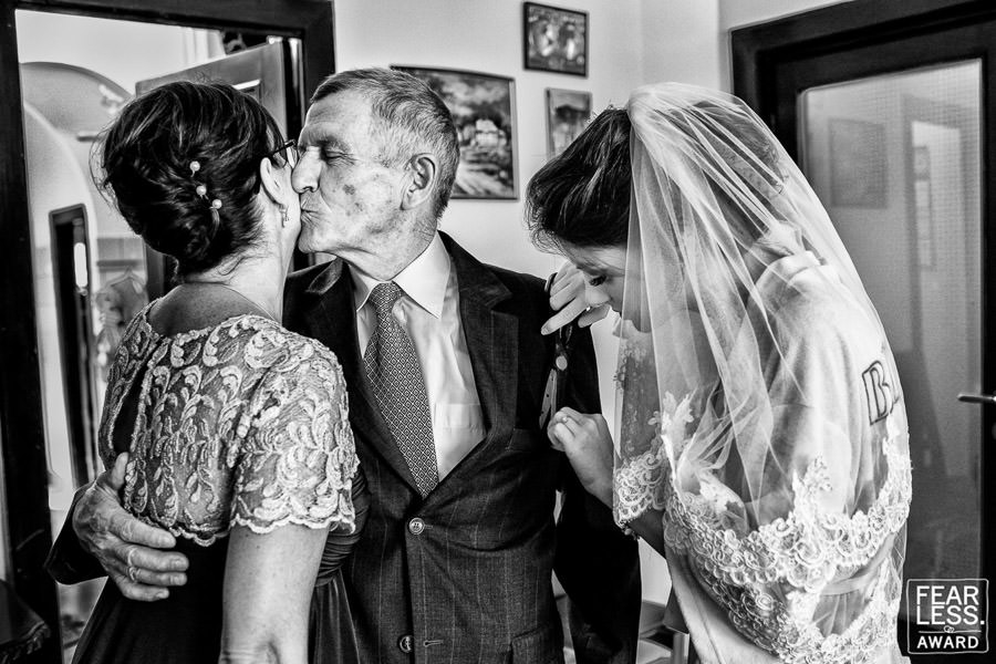 Bride with mum and grandfather on her wedding Fearless Award
