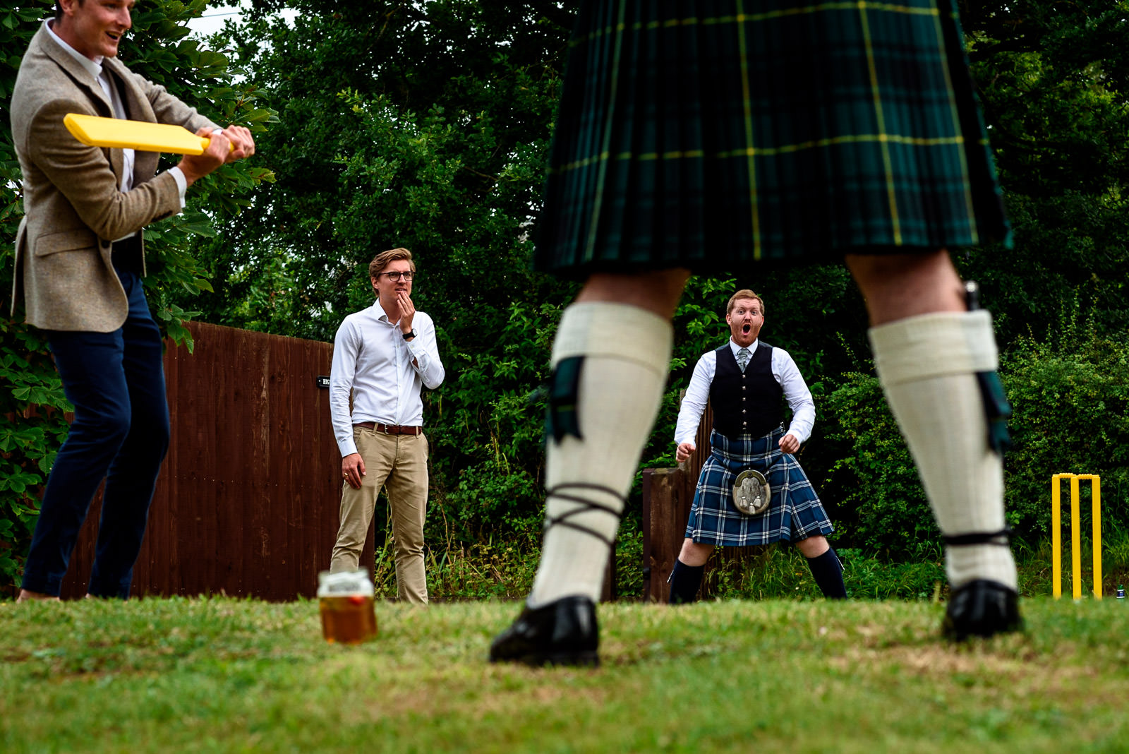 guests playing cricket at a Festival Wedding in Brighton