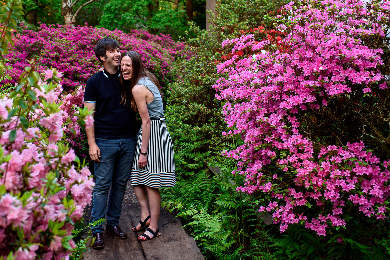 couple having a laugh in coulourful Isabella plantation during photo shoot
