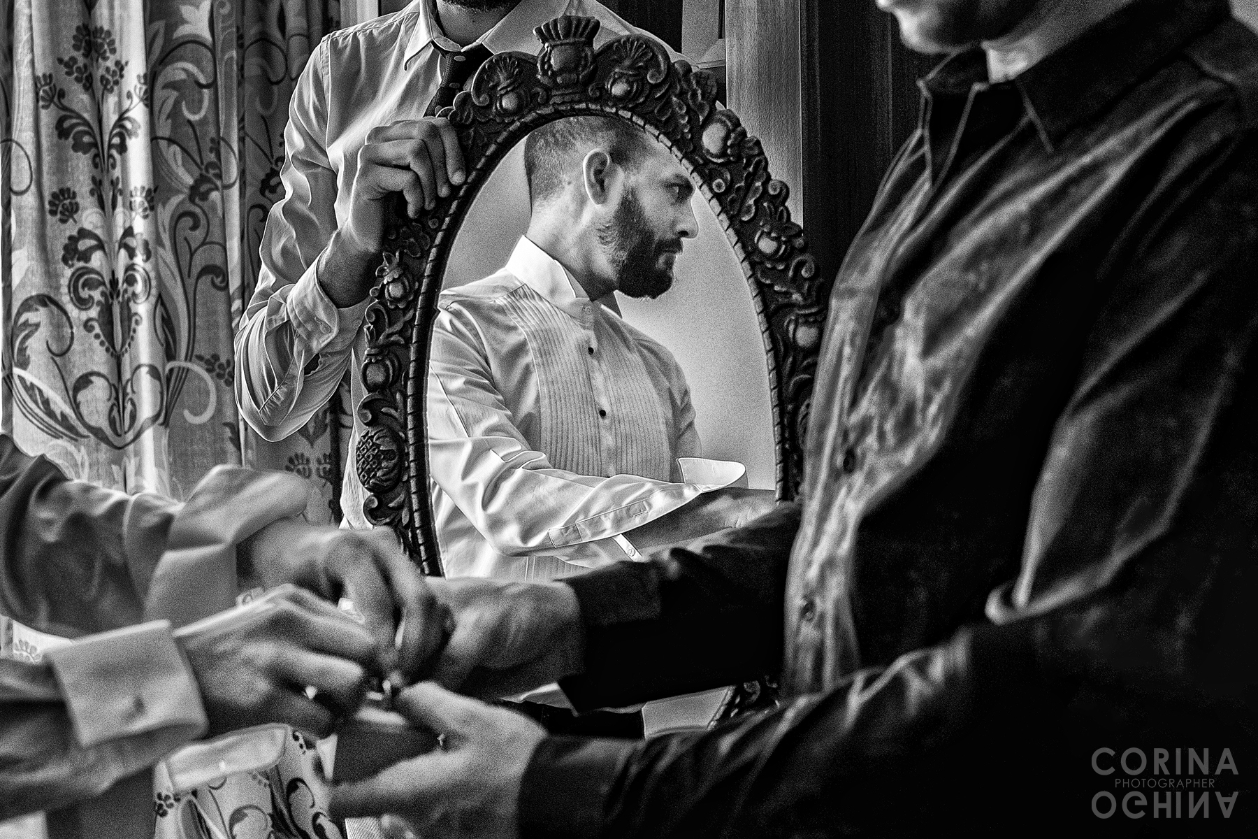 Groom getting ready with his friends