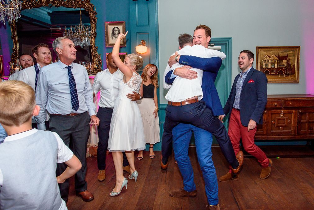 Wedding guests dancing at The County Arms