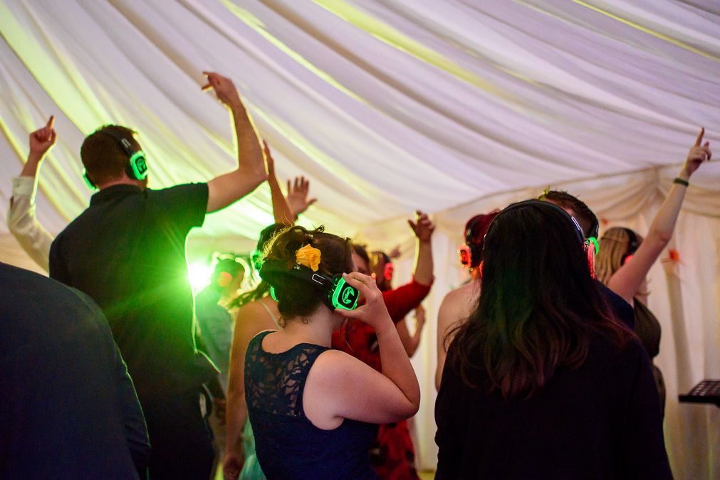 silent disco at Barleylands festival wedding