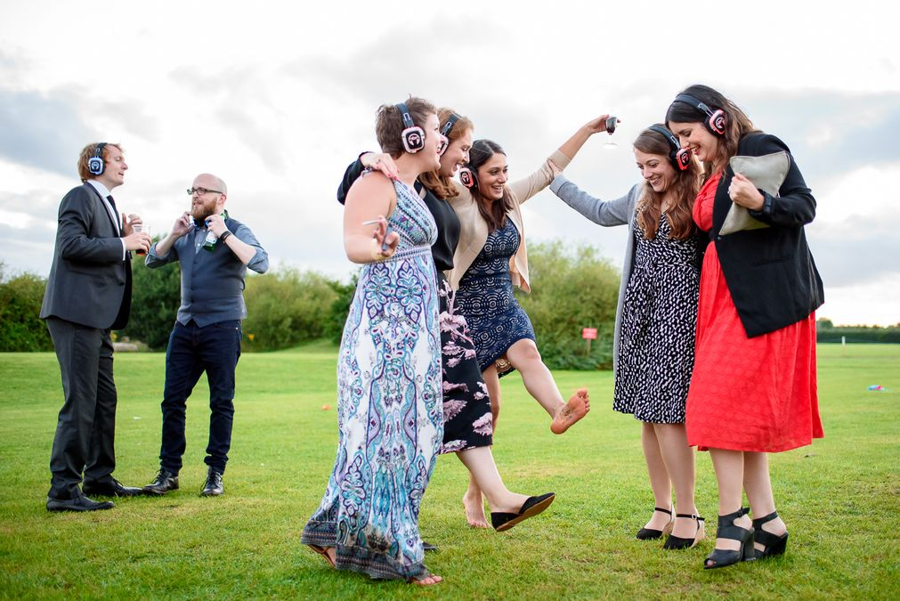 Guest dancing at Barleylands festival wedding