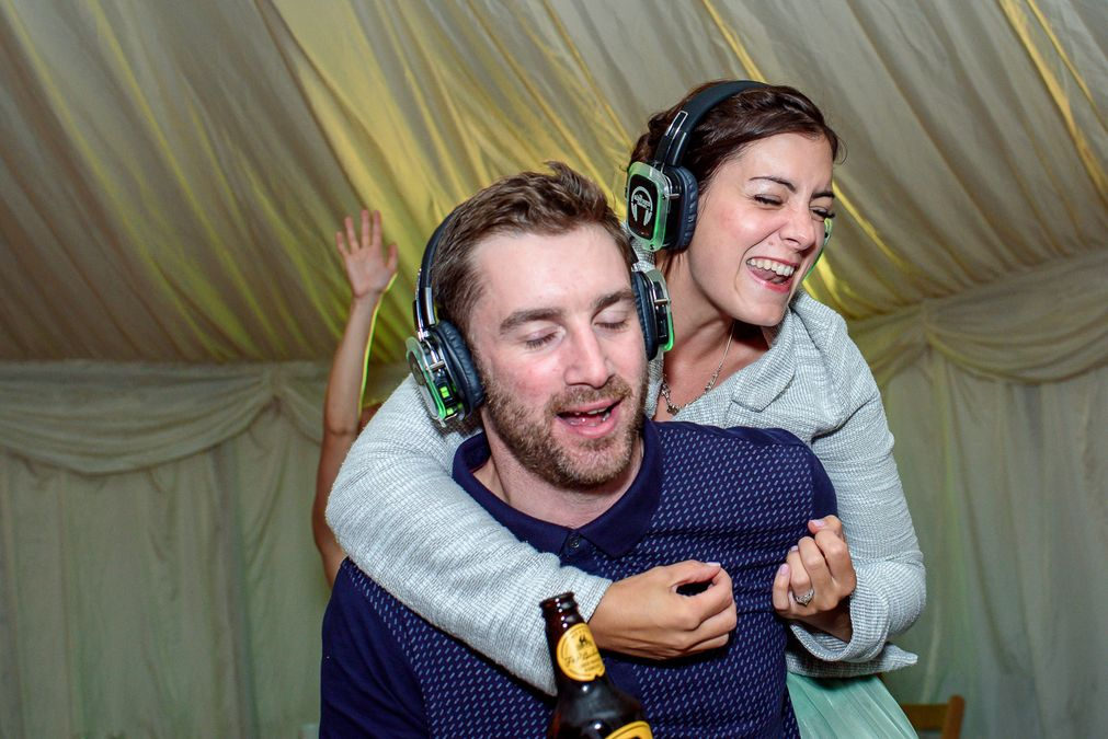 Silent disco fun at Barleylands festival wedding