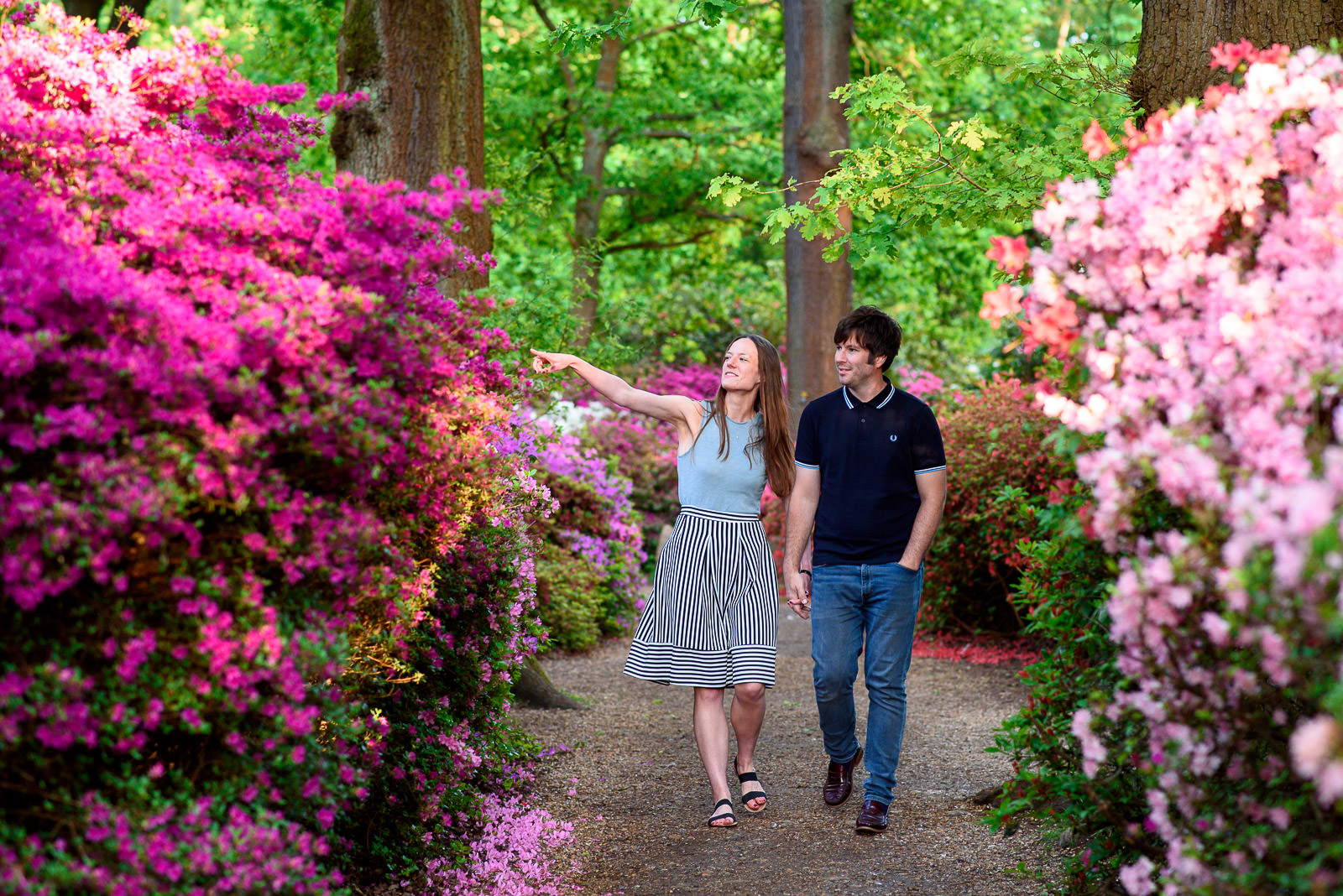 Couple photo shoot at Isabella Plantation in Richmond Park