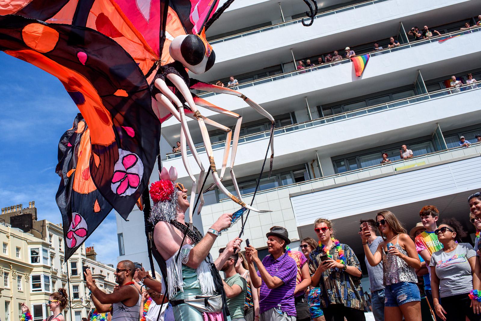Performer dancing in the Pride Parade