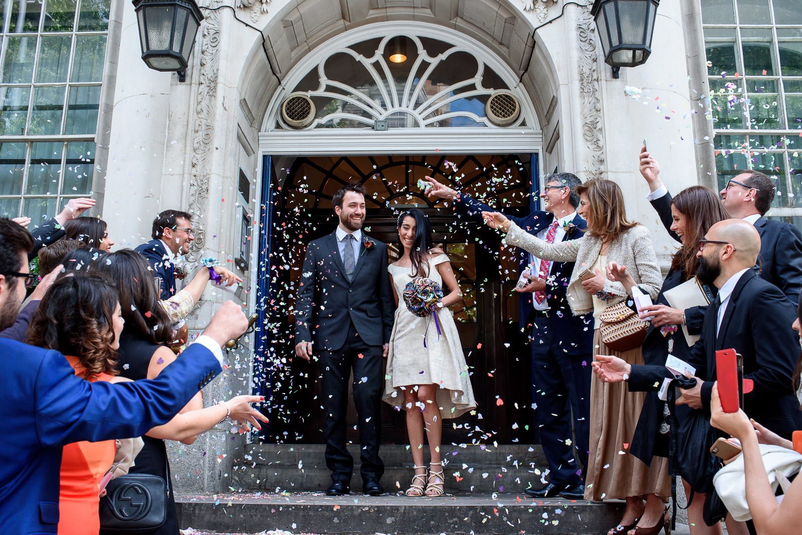 confetti at Chelsea Old Town Hall wedding