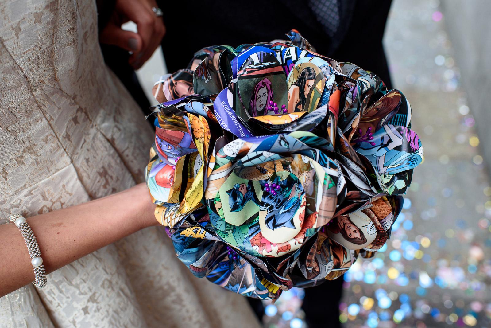 comic book wedding bouquet