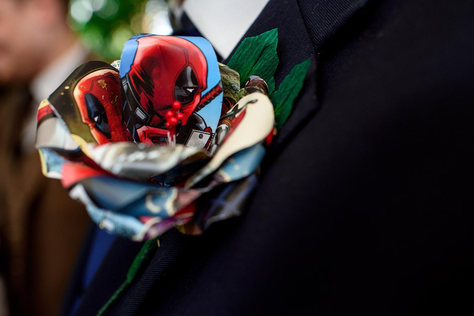 comic book themed wedding buttonhole