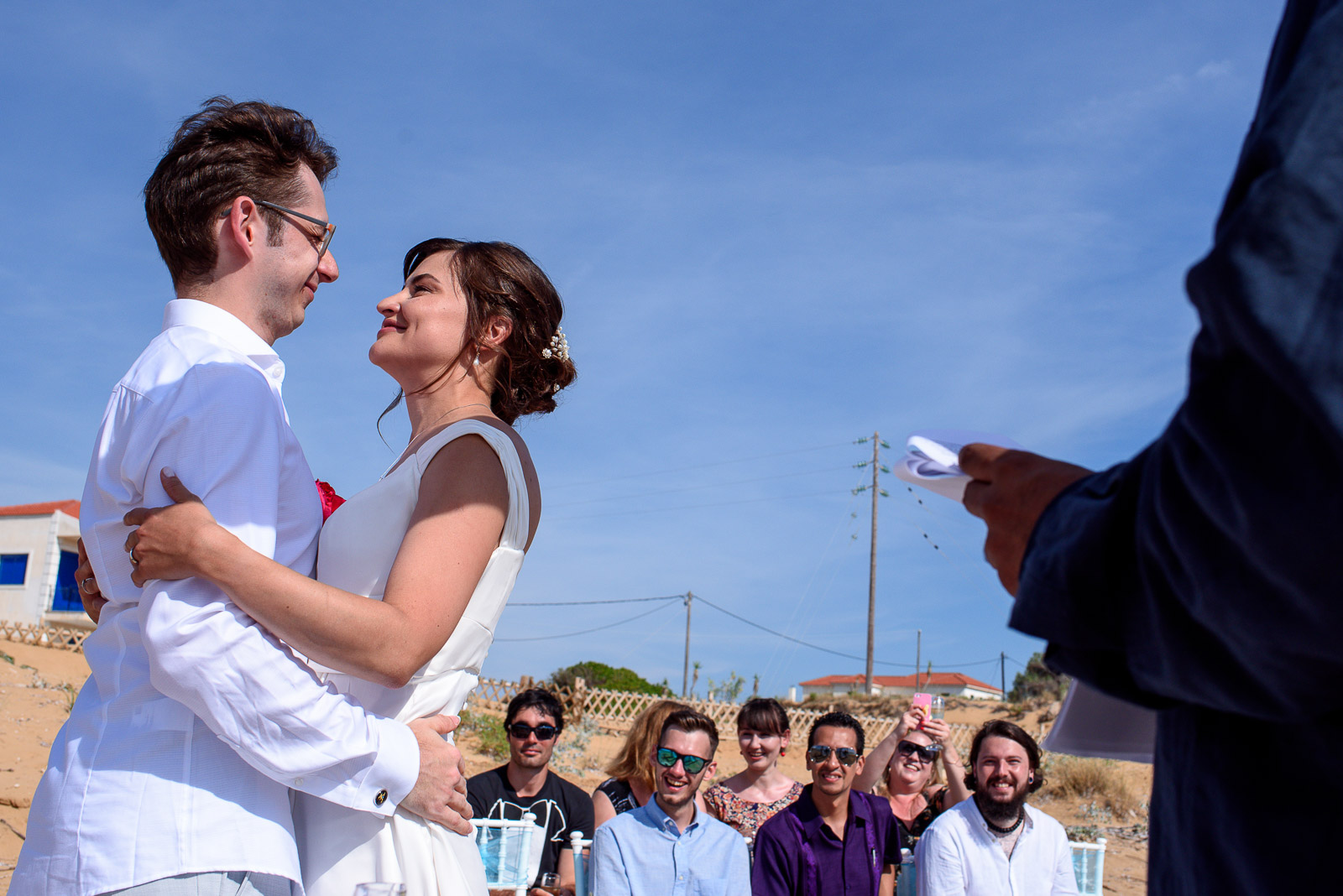 beach ceremony on a destination wedding in Greece