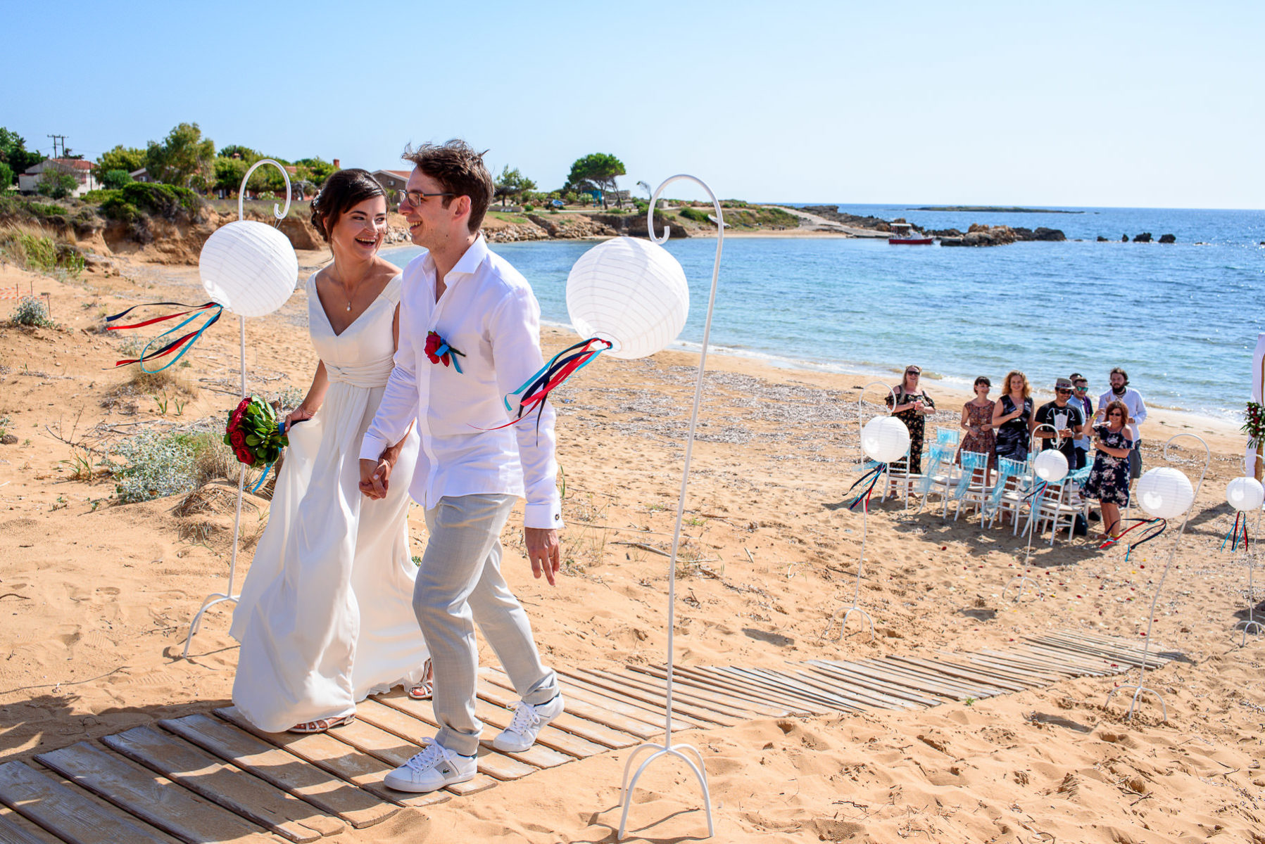 wedding ceremony on a beach in Greece