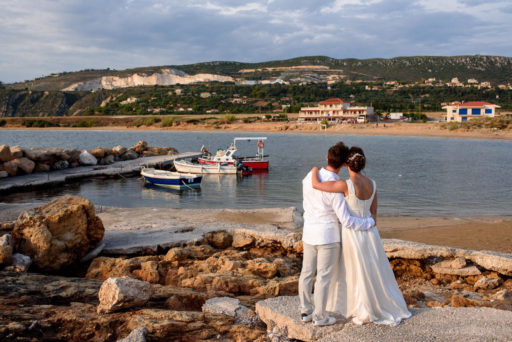 beach photo shoot o a destination wedding in Greece