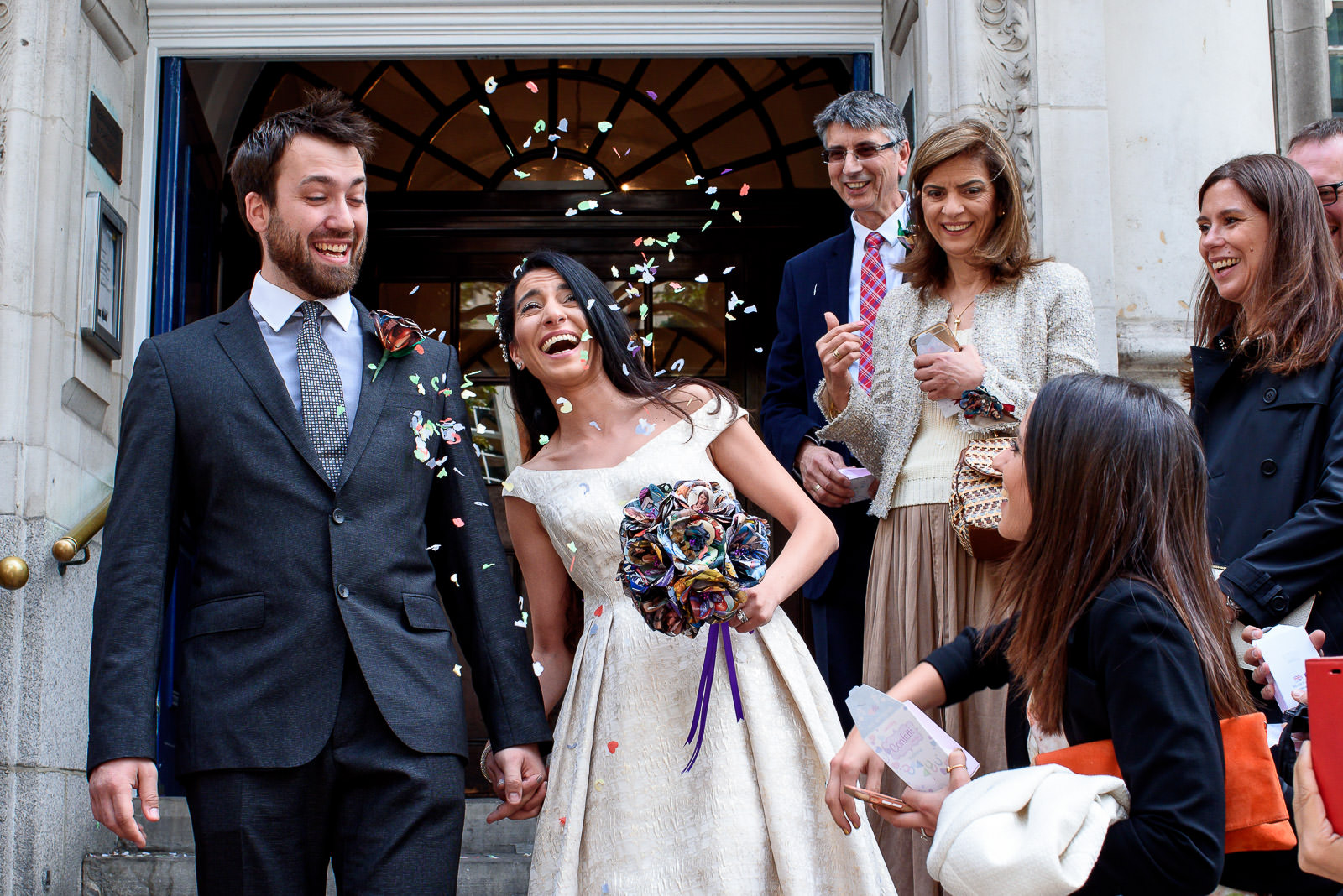 confetti shot at wedding in Chelsea Old Town Hall