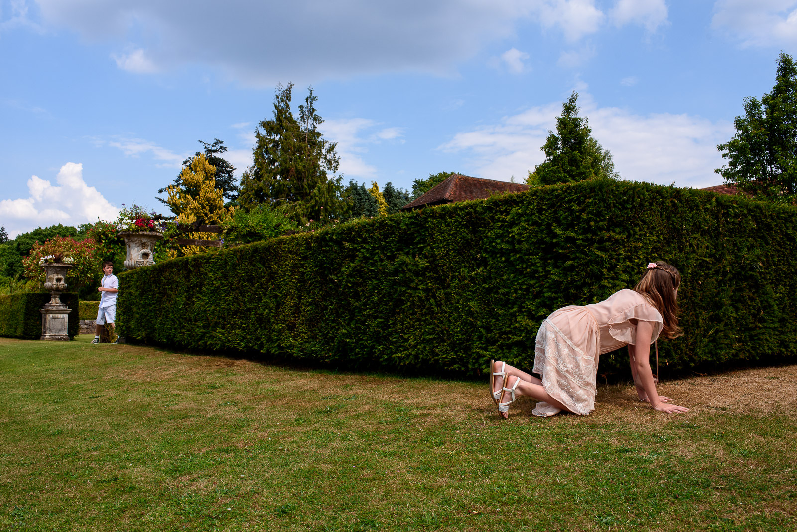 kids playing at a wedding in Cain Manor Hampshire