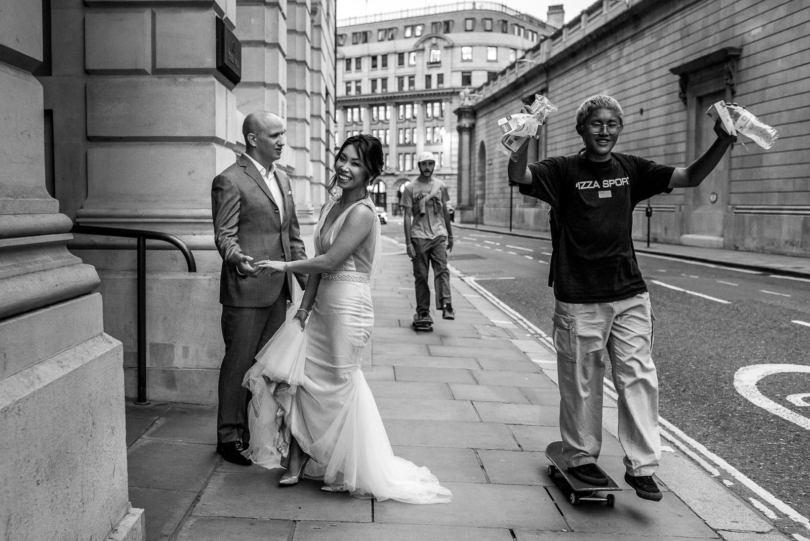 wedding couple taking photos at The Ned in London