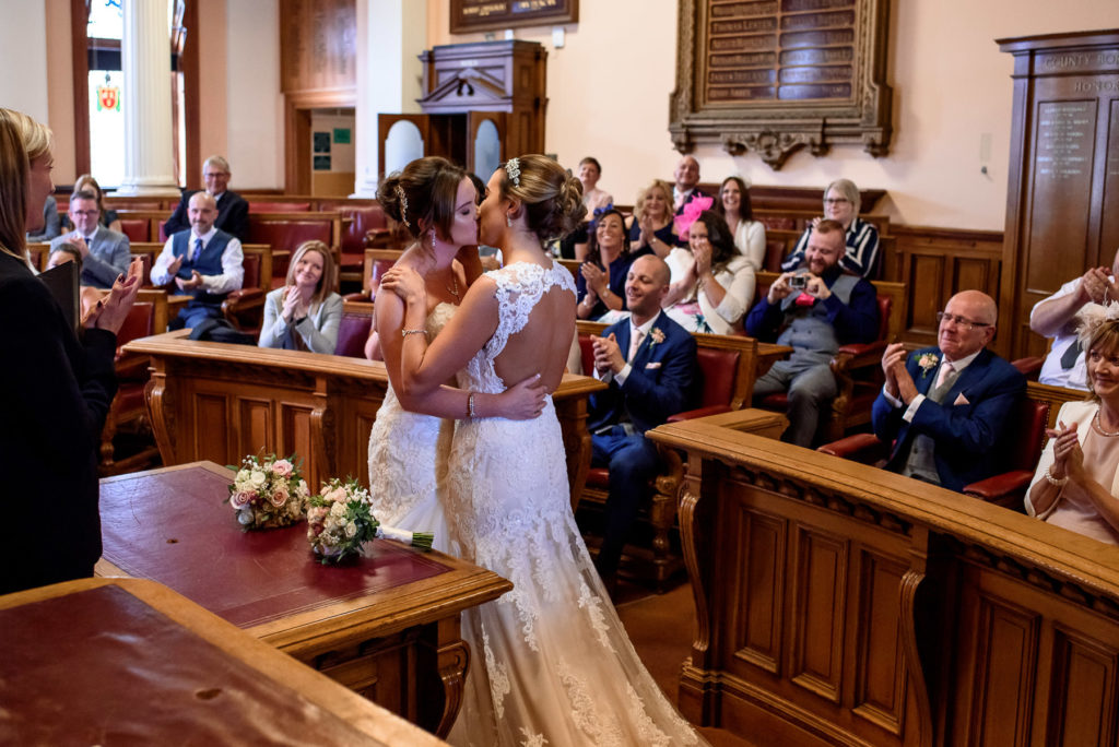 First kiss for same-sex married couple