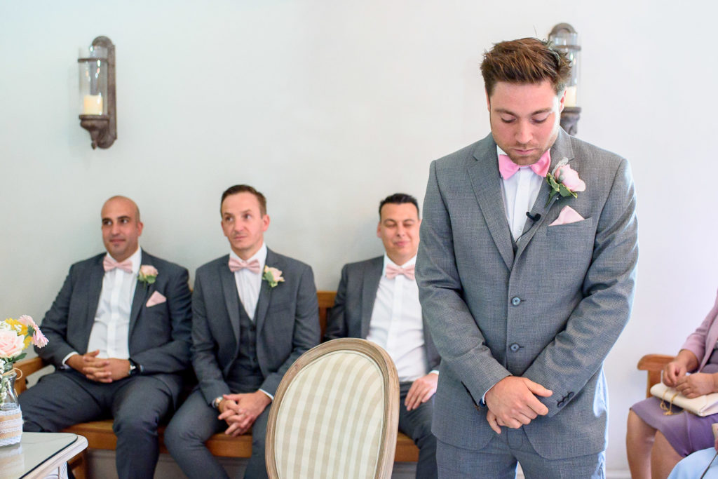 groom waiting for bride to arrive at Oaks Farm Wedding