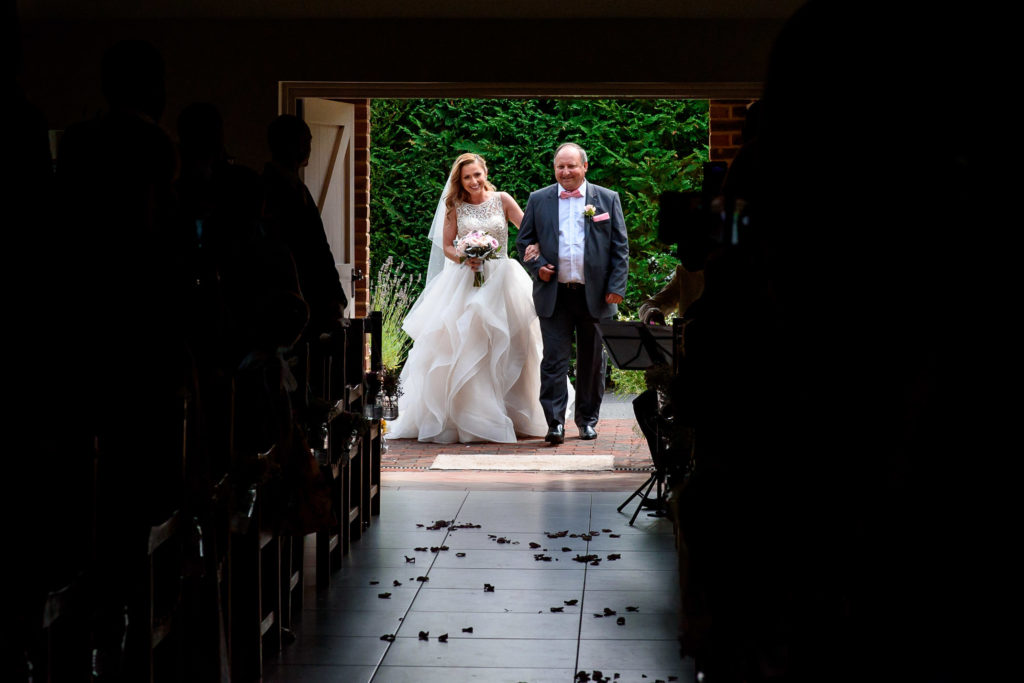 dad walking bride down the aile