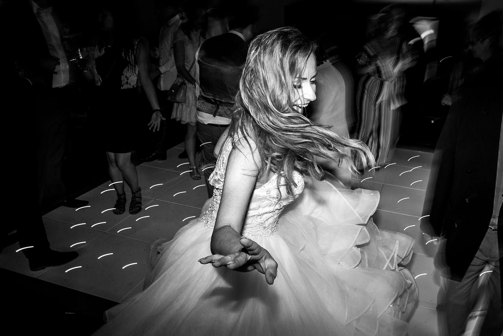 bride dancing at Oaks Farm Wedding venue