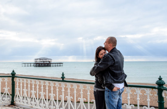 Couple on a photo shoot on the Brighton Beach