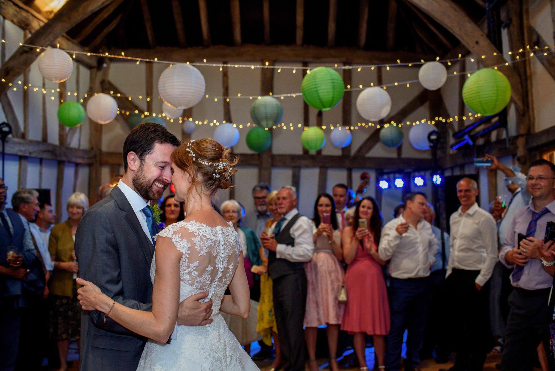Bride and groom enjoying first dance at Patricks Barn