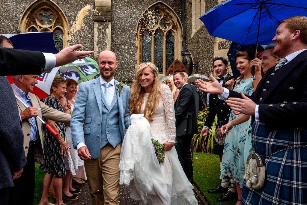 Confetti shot at Brighton College Wedding