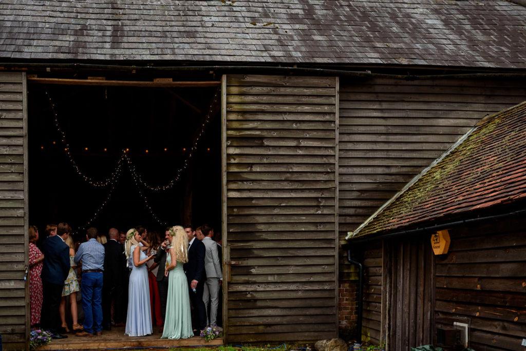 guest in barn at festival wedding in brighton