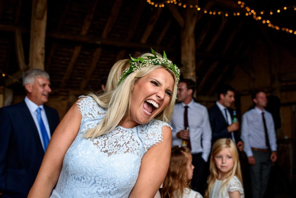 bridesmaid laughing at speeches at Brighton Wedding
