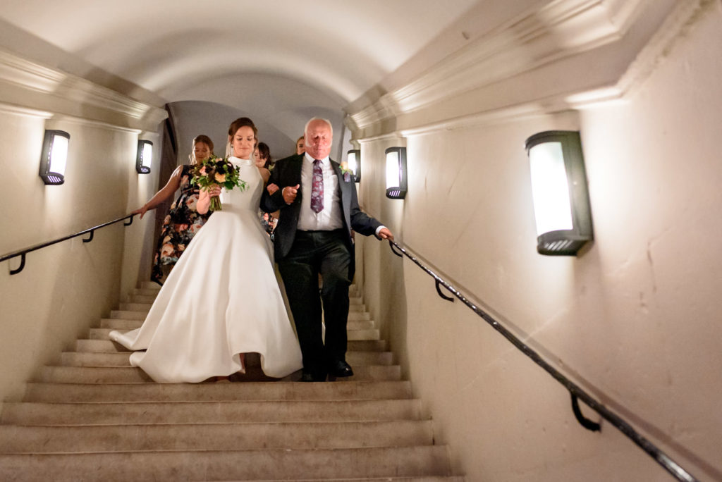 Bride walking down the Aisle at St Paul's Cathedral wedding