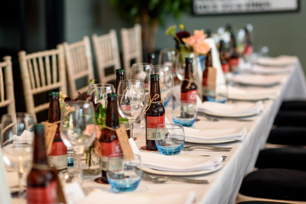 beer themed wedding table decoration at The Happenstance