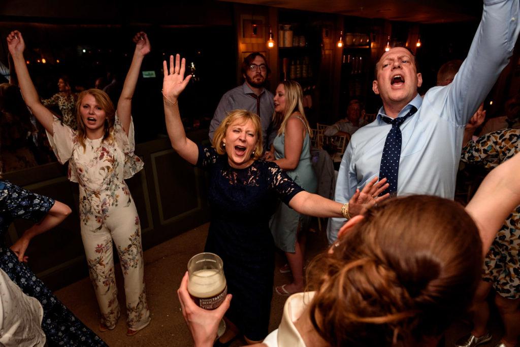 guests dancing at the Happenstance wedding venue
