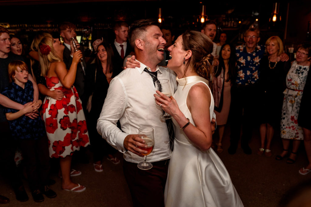 bride and groom first dance at The Happenstance wedding venue