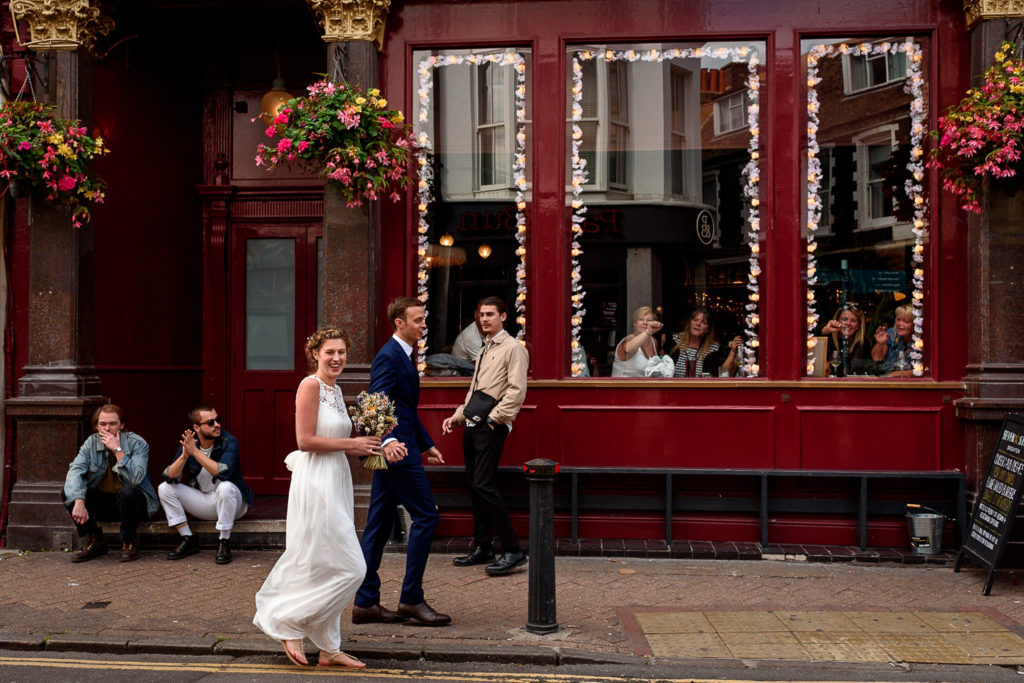 couple on their way to wedding at Fabrica Brighton