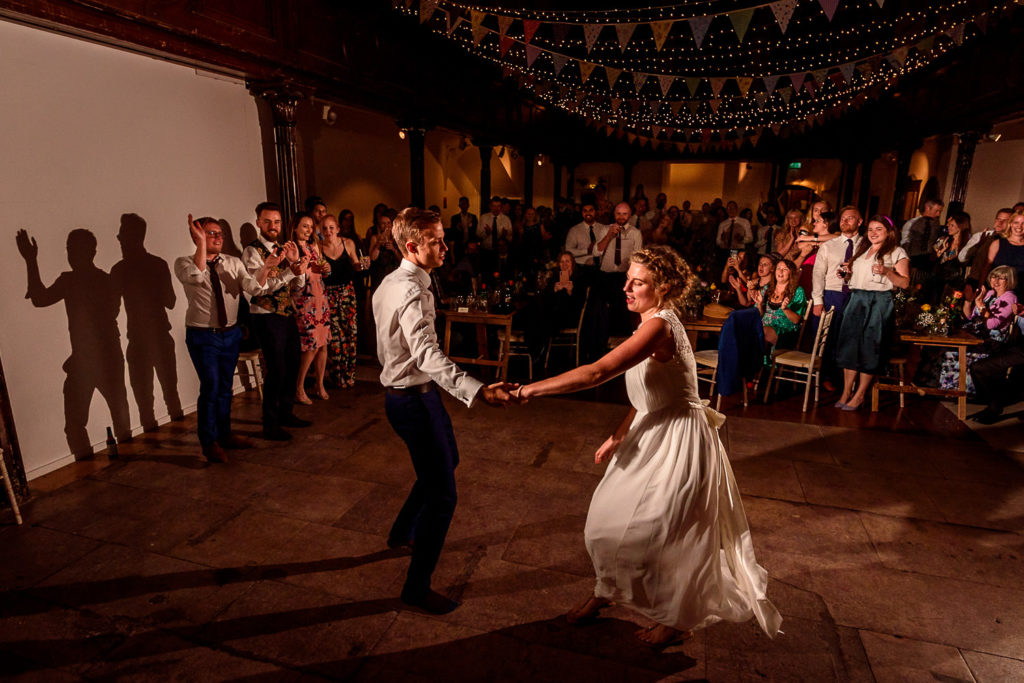 Bride and groom having first dance at Fabrica Wedding Venue in Brighton