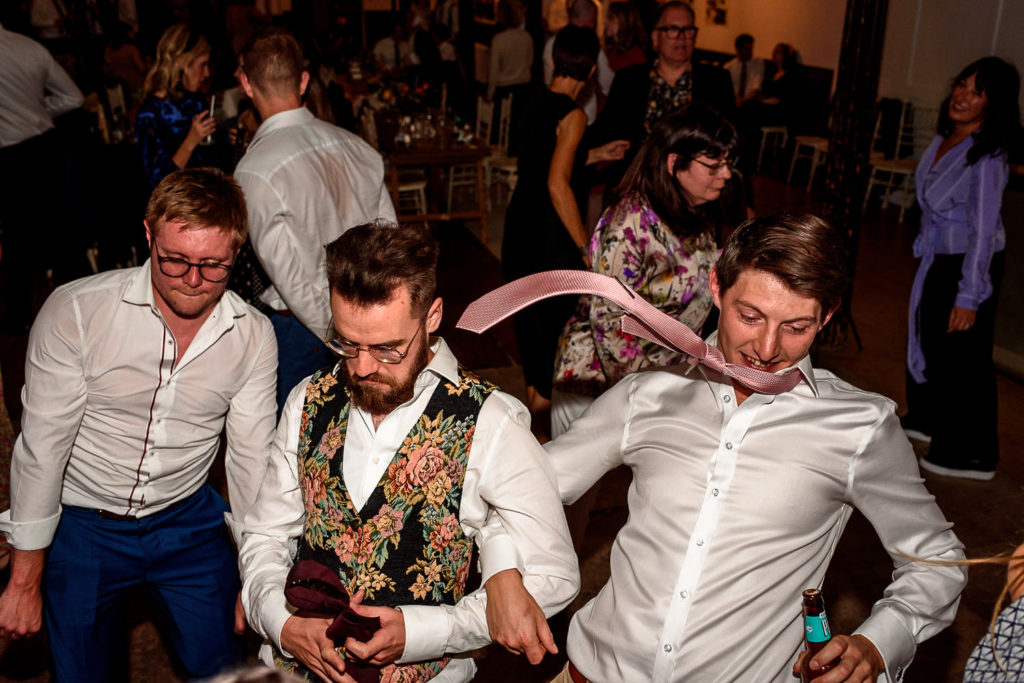 guests dancing at Fabrica wedding venue in Brighton