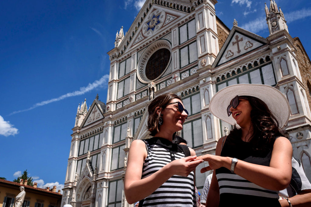 Bride and bridesmaid in Florence