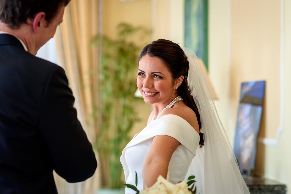 happy bride smiling before her wedding ceremony at Villa Parisi