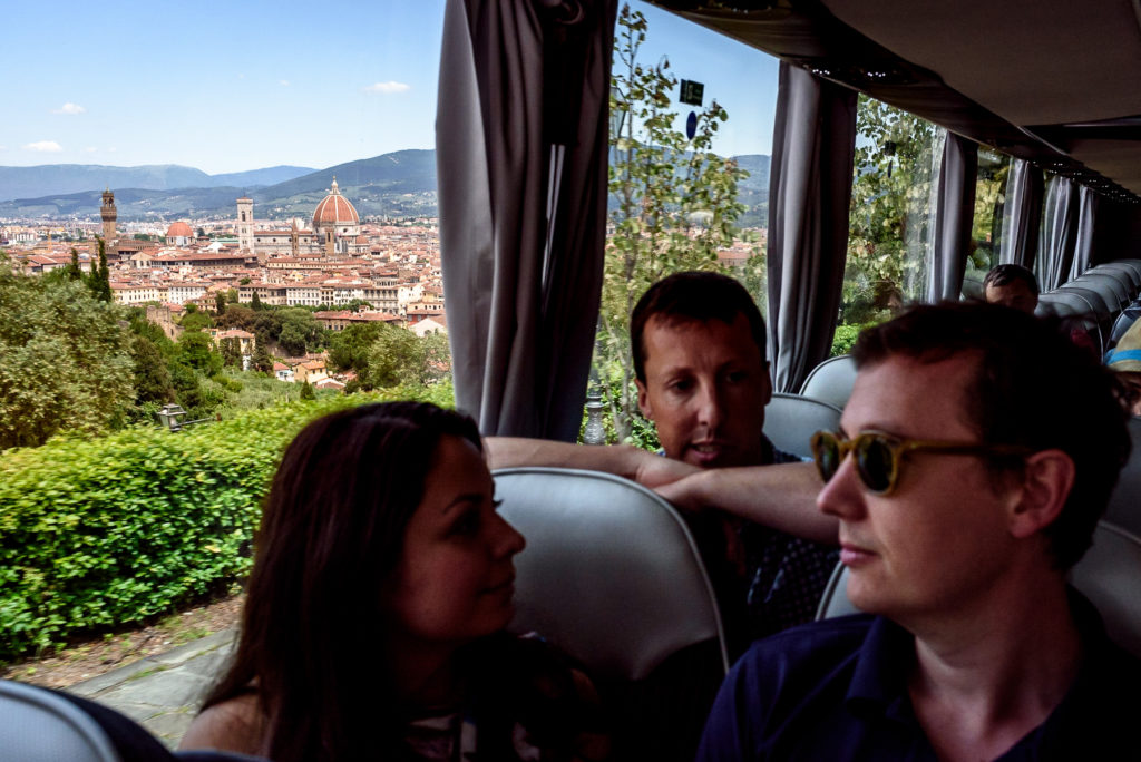 View of Florence from bus on way to wedding