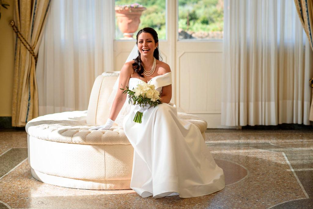 Candid bridal portrait at Villa Parisi in Castiglioncello Italy