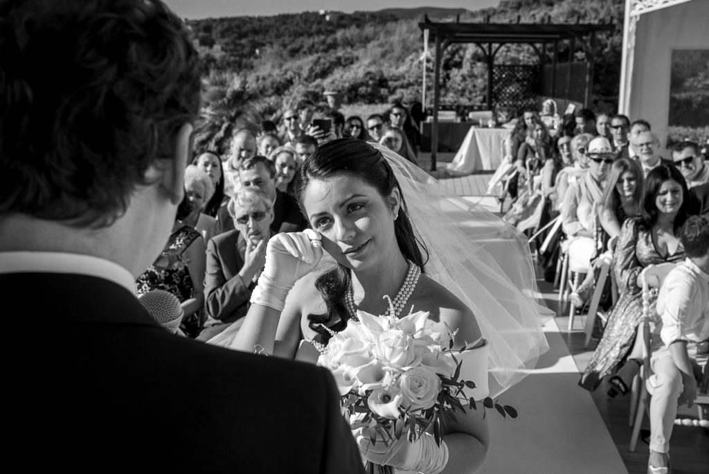 Emotional ceremony at destination wedding in Castiglioncello Italy