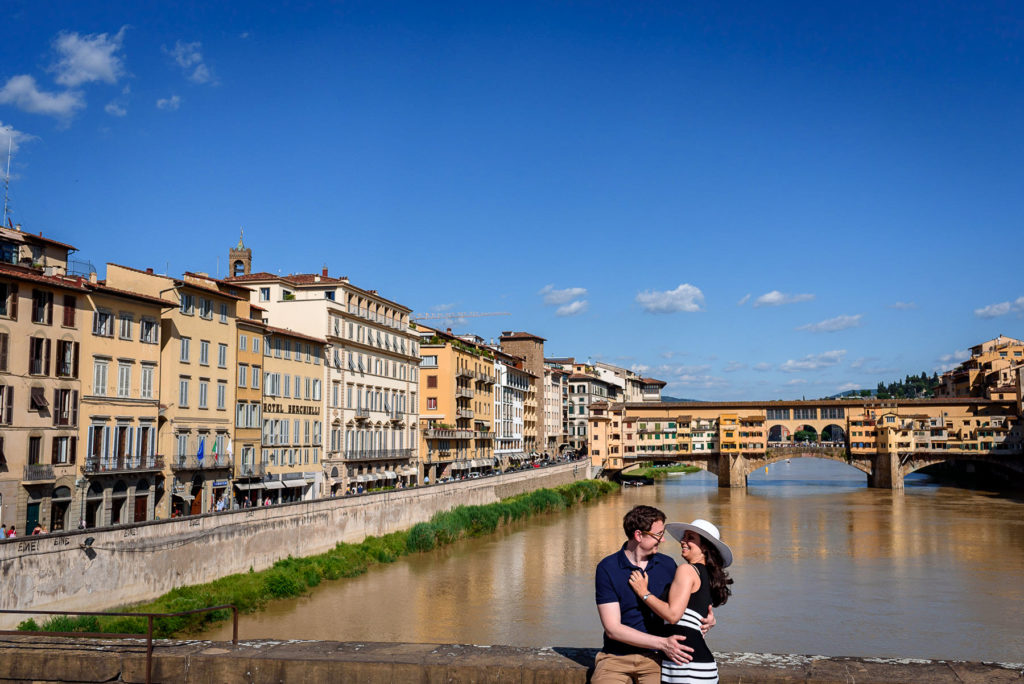 Couple on engagement photo shoot in Florence