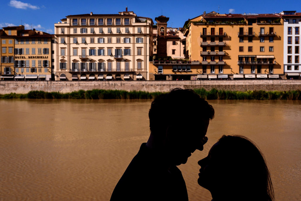 Silhouette of engaged couple in Florence