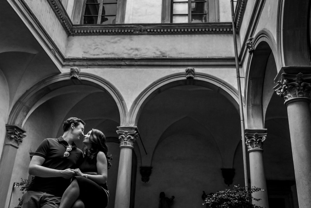 black and white photo of engaged couple in Florence