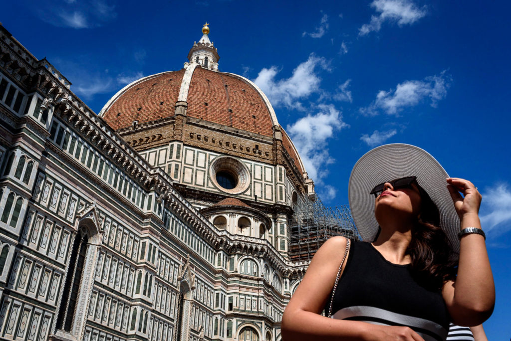 engagement photos in front of  Duomo Cathedral of Santa Maria del Fiore Florence