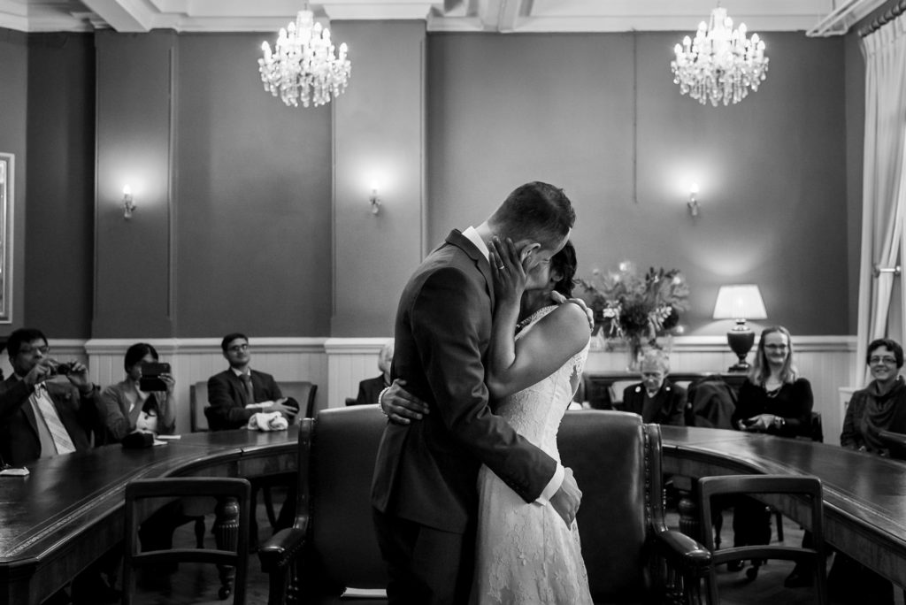 First kiss at Brighton town hall wedding