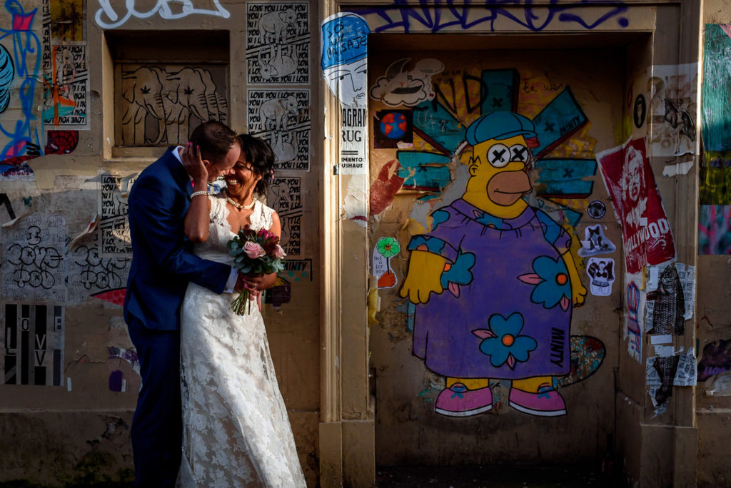 wedding photos with graffiti street in Brighton