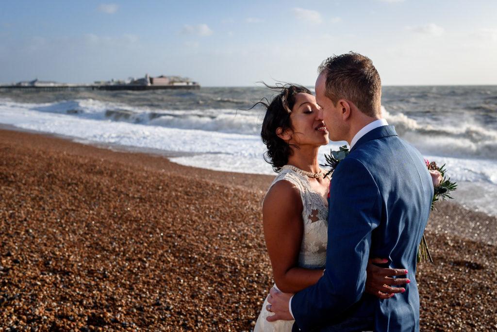stormy wedding photos on Brighton Beach