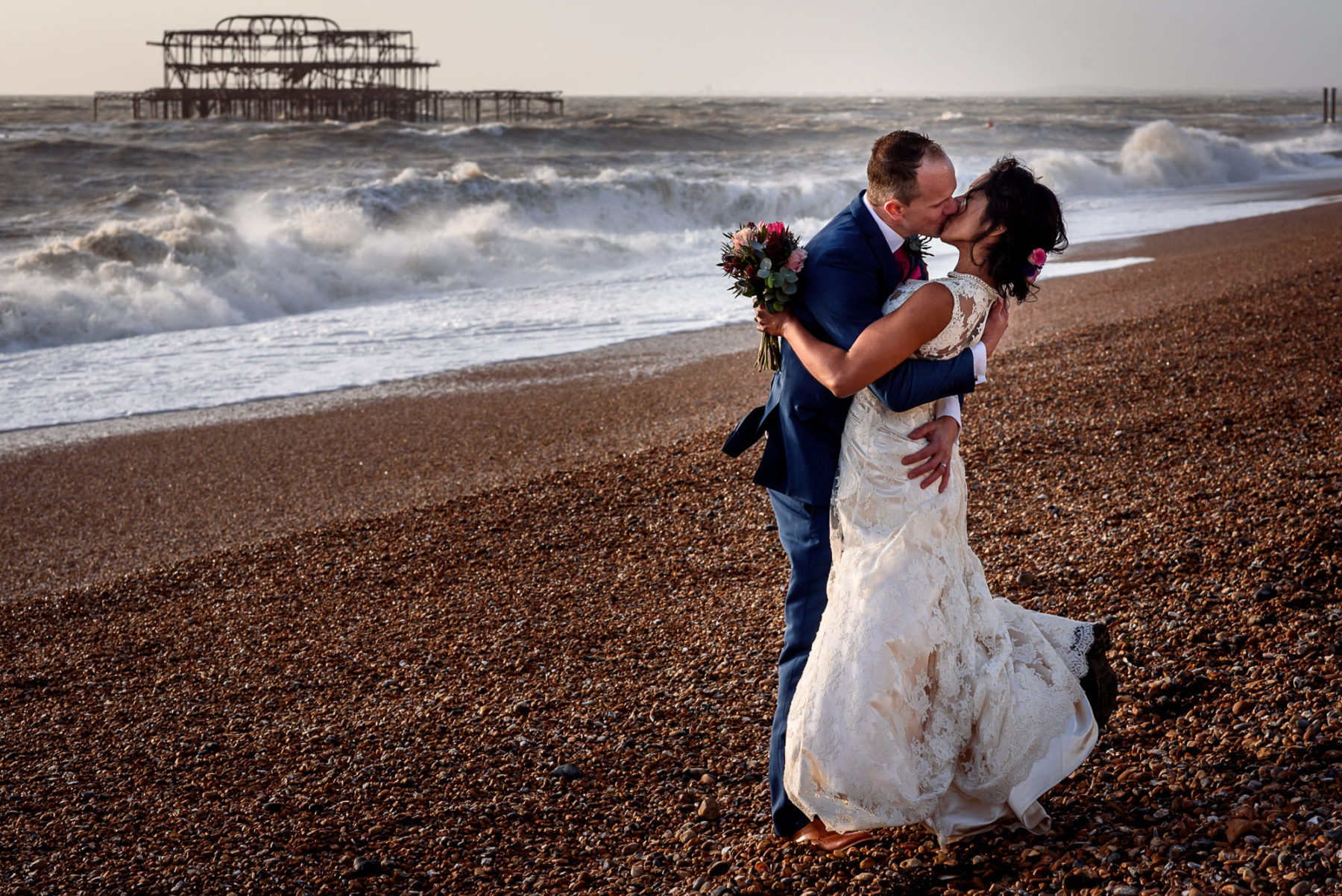 stormy wedding photos on Brighton Beach