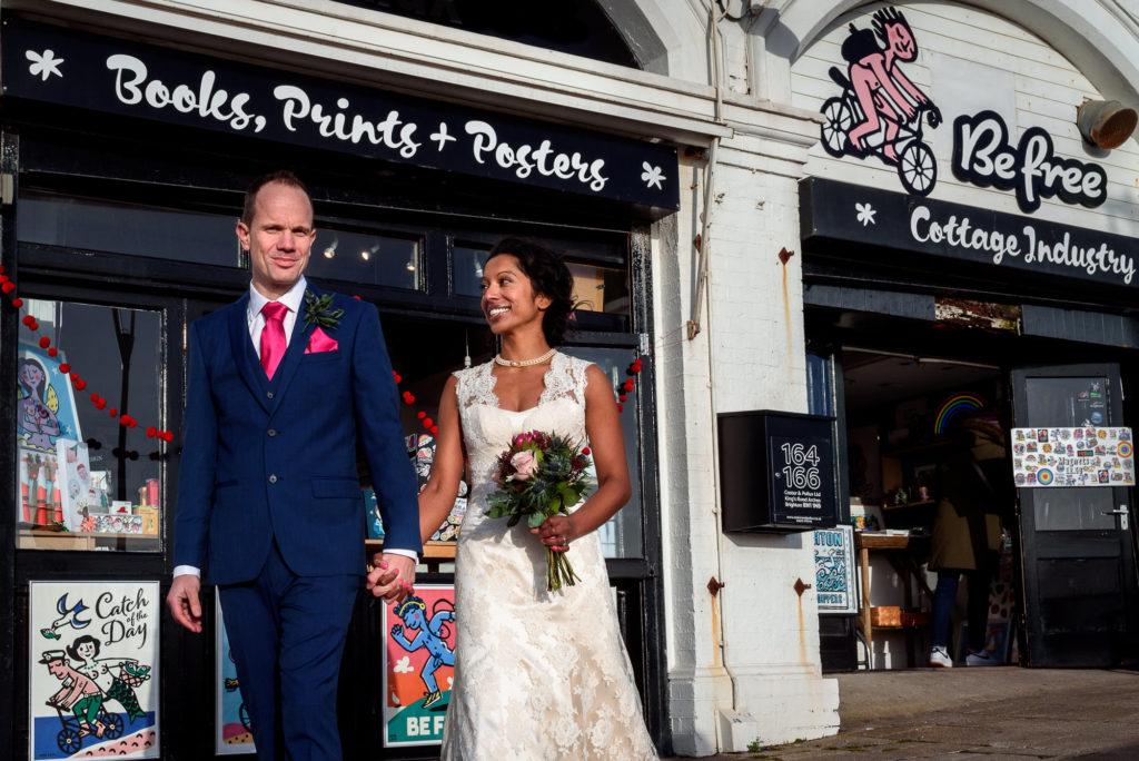 wedding photos with Brighton Shops